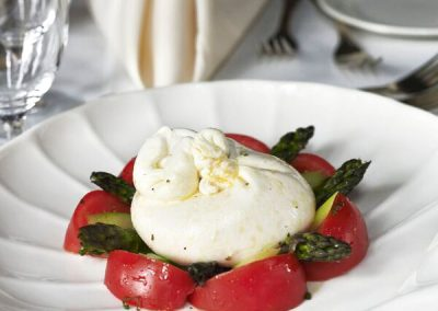 Imported Burrata from Italy with Tomatoes and Asparagus