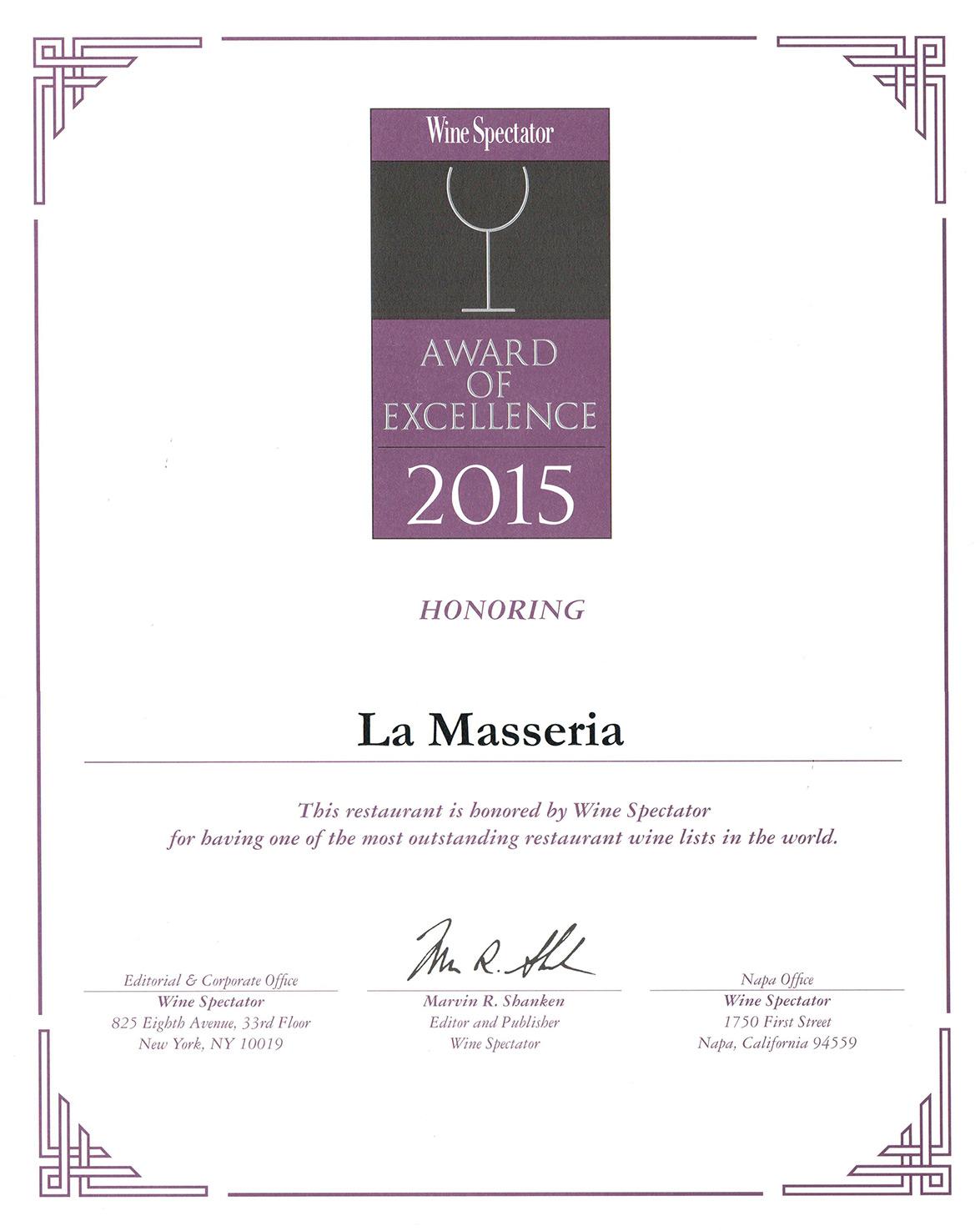 Wine Spectator Award 2015 for La Masseria New York City